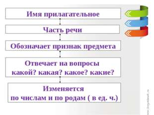Имя прилагательное Часть речи Обозначает признак предмета Отвечает на вопросы