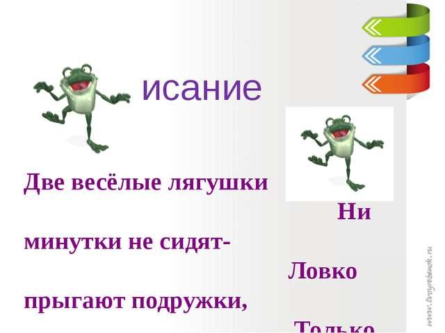 Чистописание Две весёлые лягушки Ни минутки не сидят- Ловко прыгают подружки...