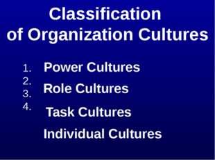 Classification of Organization Cultures 1. 2. 3. 4. Power Cultures Role Cultu