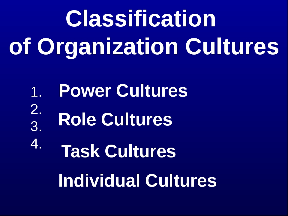 Classification of Organization Cultures 1. 2. 3. 4. Power Cultures Role Cultu...
