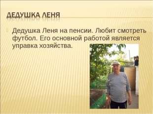 Дедушка Леня на пенсии. Любит смотреть футбол. Его основной работой является
