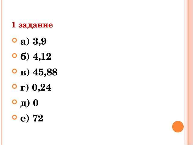 1 задание а) 3,9 б) 4,12 в) 45,88 г) 0,24 д) 0 е) 72