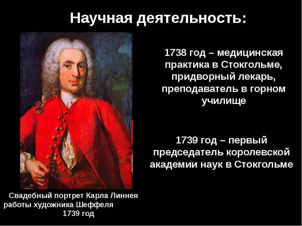 Научная деятельность: 1738 год – медицинская практика в Стокгольме, придворны...