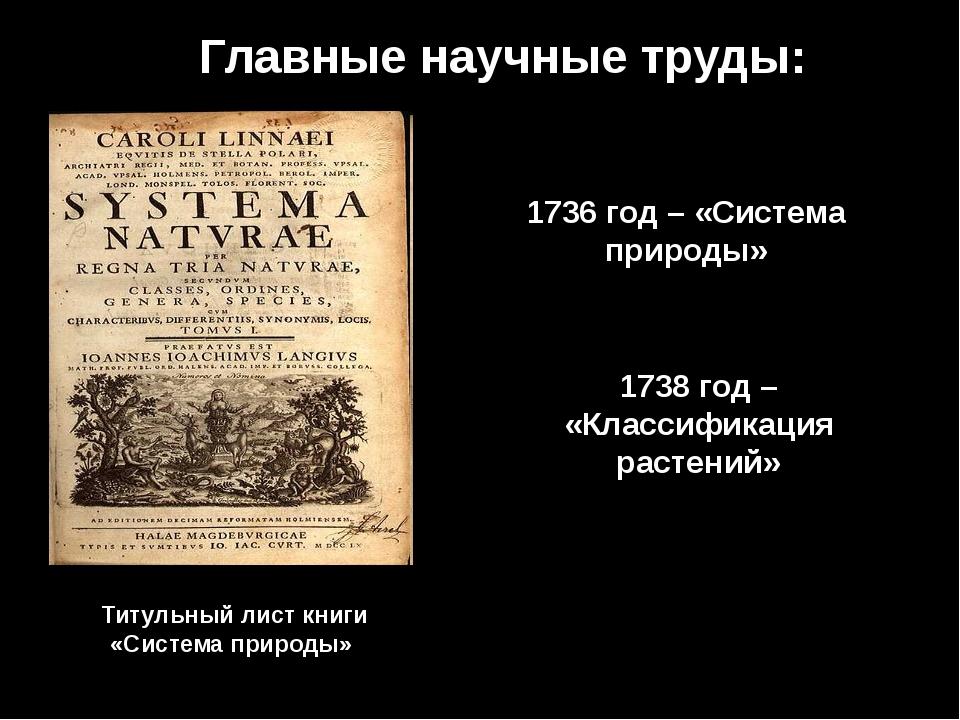 Главные научные труды: 1736 год – «Система природы» Титульный лист книги «Сис...