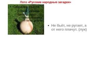 Лото «Русские народные загадки» Не бьёт, не ругает, а от него плачут. (лук)