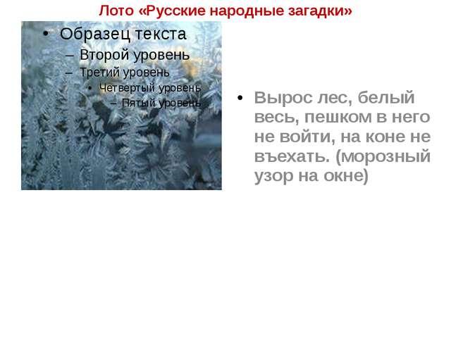 Лото «Русские народные загадки» Вырос лес, белый весь, пешком в него не войти...