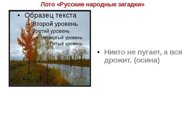 Лото «Русские народные загадки» Никто не пугает, а вся дрожит. (осина)
