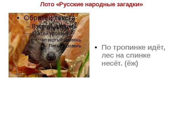 Лото «Русские народные загадки» По тропинке идёт, лес на спинке несёт. (ёж)