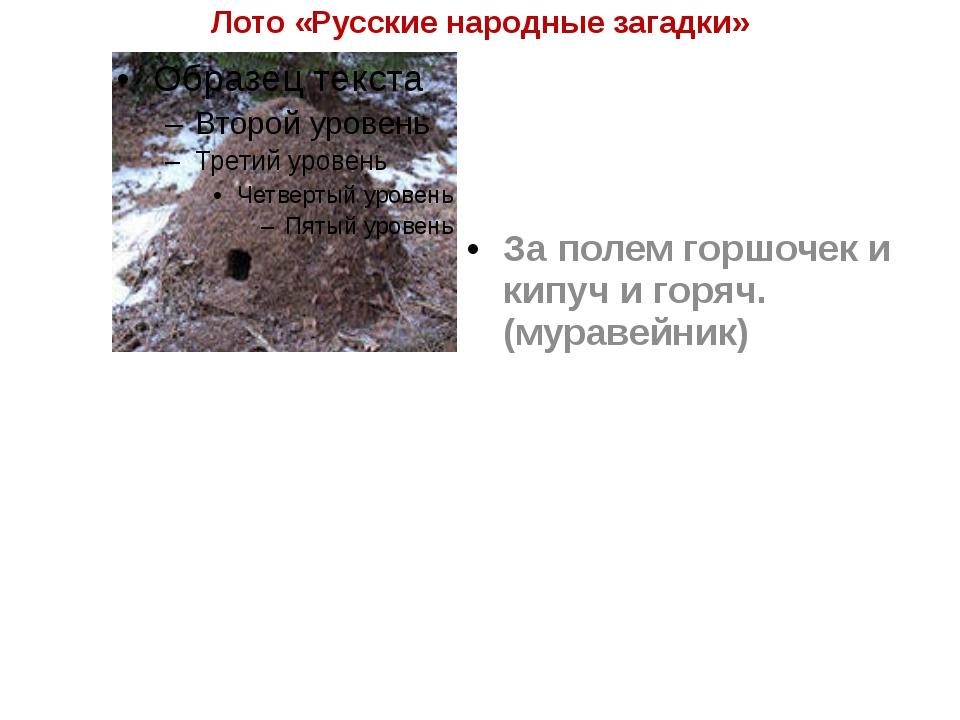 Лото «Русские народные загадки» За полем горшочек и кипуч и горяч. (муравейник)