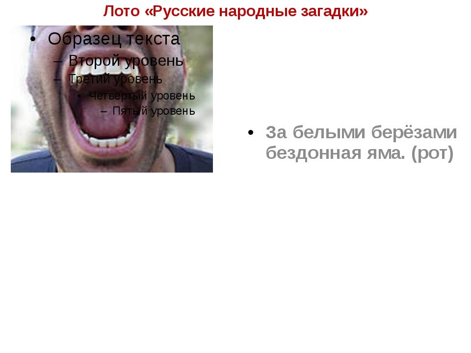 Лото «Русские народные загадки» За белыми берёзами бездонная яма. (рот)