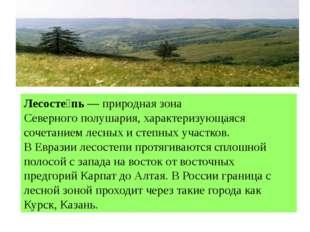 Лесосте́пь—природная зонаСеверного полушария, характеризующаяся сочетанием