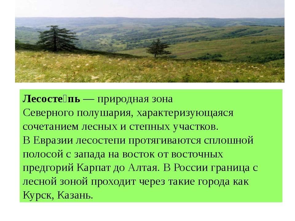 Лесосте́пь—природная зонаСеверного полушария, характеризующаяся сочетанием...