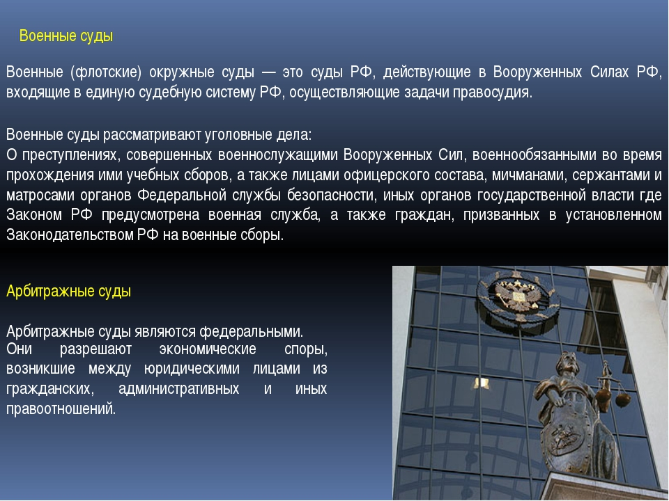 Военные суды Военные (флотские) окружные суды — это суды РФ, действующие в Во...