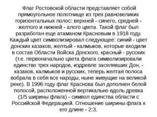 Флаг Ростовской области представляет собой прямоугольное полотнище из трех р