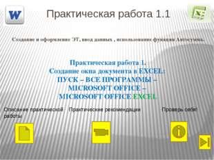 Практическая работа 1.1 Создание и оформление ЭТ, ввод данных , использование