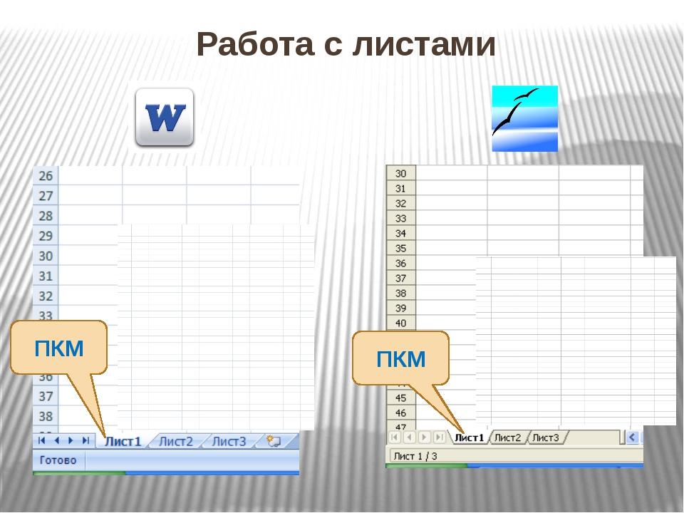 Работа с листами ПКМ ПКМ