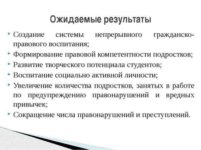 Создание системы непрерывного гражданско-правового воспитания; Формирование п...