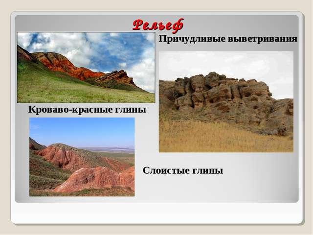 Рельеф Кроваво-красные глины Причудливые выветривания Слоистые глины
