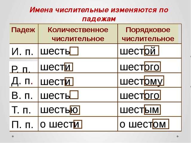 о шестом о шести П. п. шестым шестью Т. п. шестого шесть В. п. шестому шести...