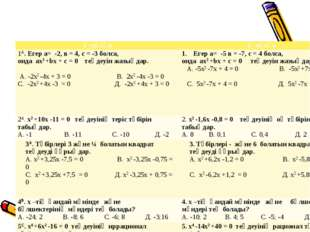 1 –нұсқа2 –нұсқа 1A. Егер а= -2, в = 4, с = -3 болса, онда ax2 +bx + c = 0 т