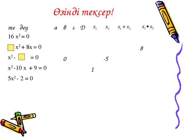 Өзінді тексер! теңдеуавсD 16 х2 = 0 х2 + 8х = 08 х2 -...