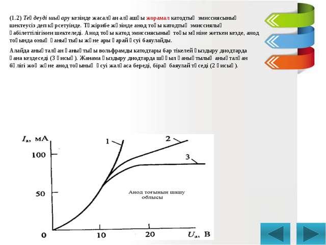 (1.2) Теңдеуді шығару кезінде жасалған алғашқы жорамал катодтың эмиссиясының...