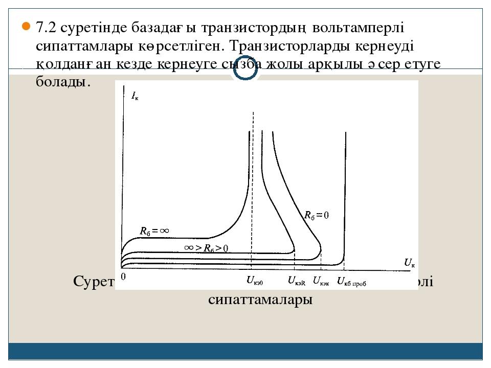 7.2 суретінде базадағы транзистордың вольтамперлі сипаттамлары көрсетліген. Т...