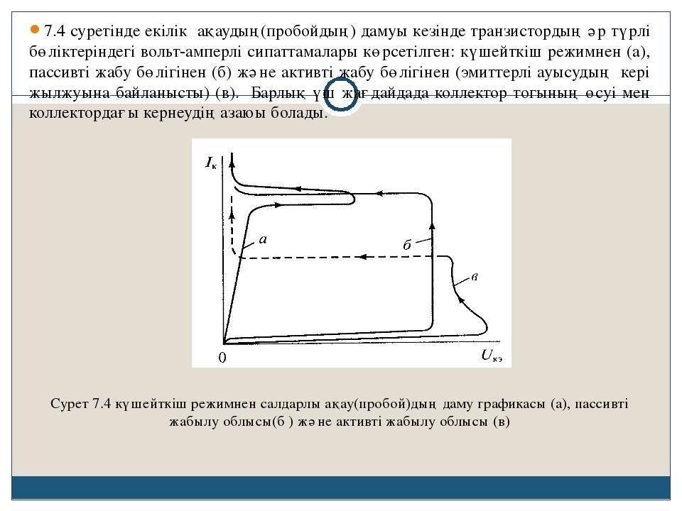 7.4 суретінде екілік ақаудың(пробойдың) дамуы кезінде транзистордың әр түрлі...