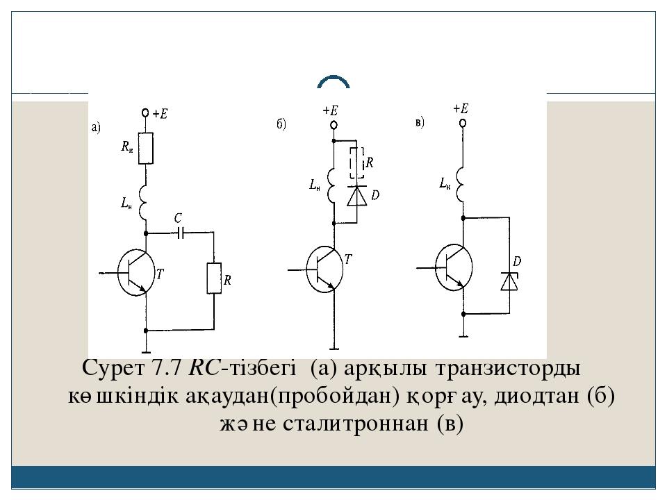 Сурет 7.7 RC-тізбегі (а) арқылы транзисторды көшкіндік ақаудан(пробойдан) қо...