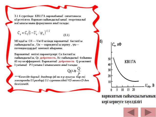 3.1 б суретінде КВ117А варикабының сипаттамасы көрсетілген. Варикап сыйымдыл...
