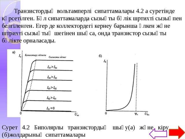 Транзистор сипаттамаларының кейбір ерекшеліктері сызықты бөлігінде орналасқа...