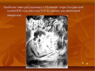 Наиболее емко рассказывает о Пушкине поры Болдинской осени1830 года рисунок Н