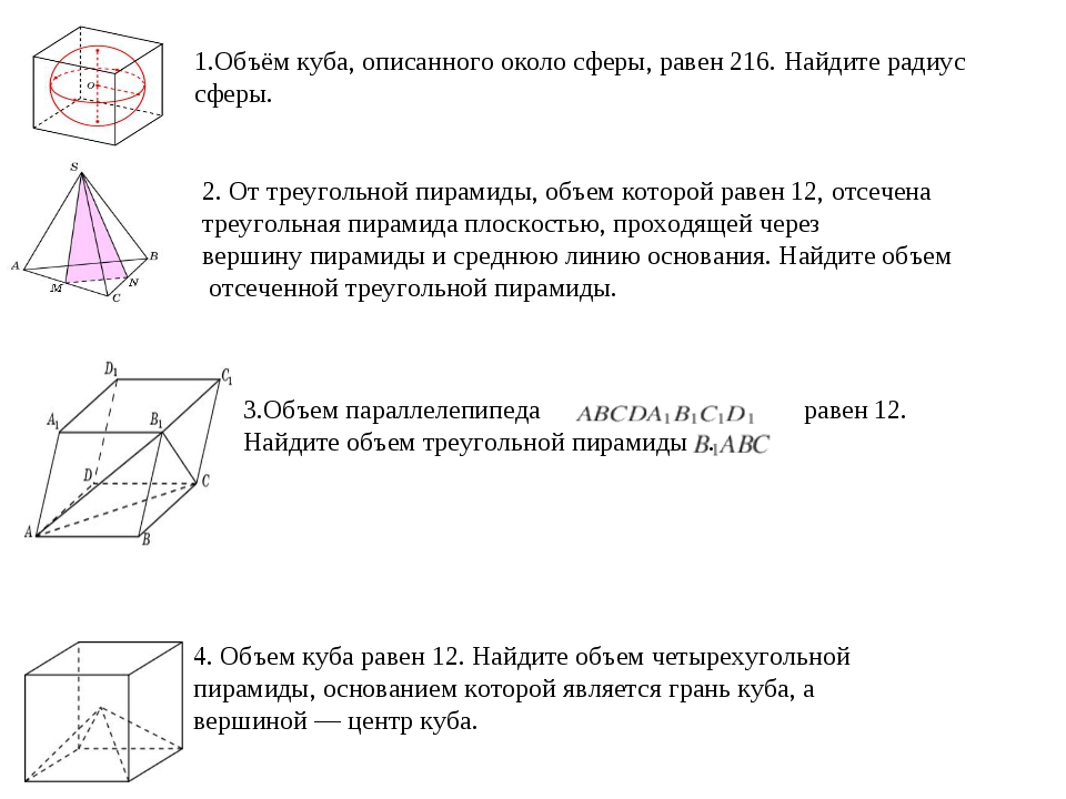 1.Объём куба, описанного около сферы, равен 216. Найдите радиус сферы. 2. От...