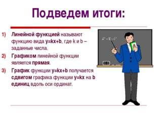 Подведем итоги: Линейной функцией называют функцию вида y=kx+b, где k и b – з