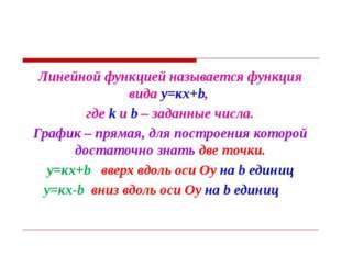 Линейной функцией называется функция вида у=кх+b, где k и b – заданные числа