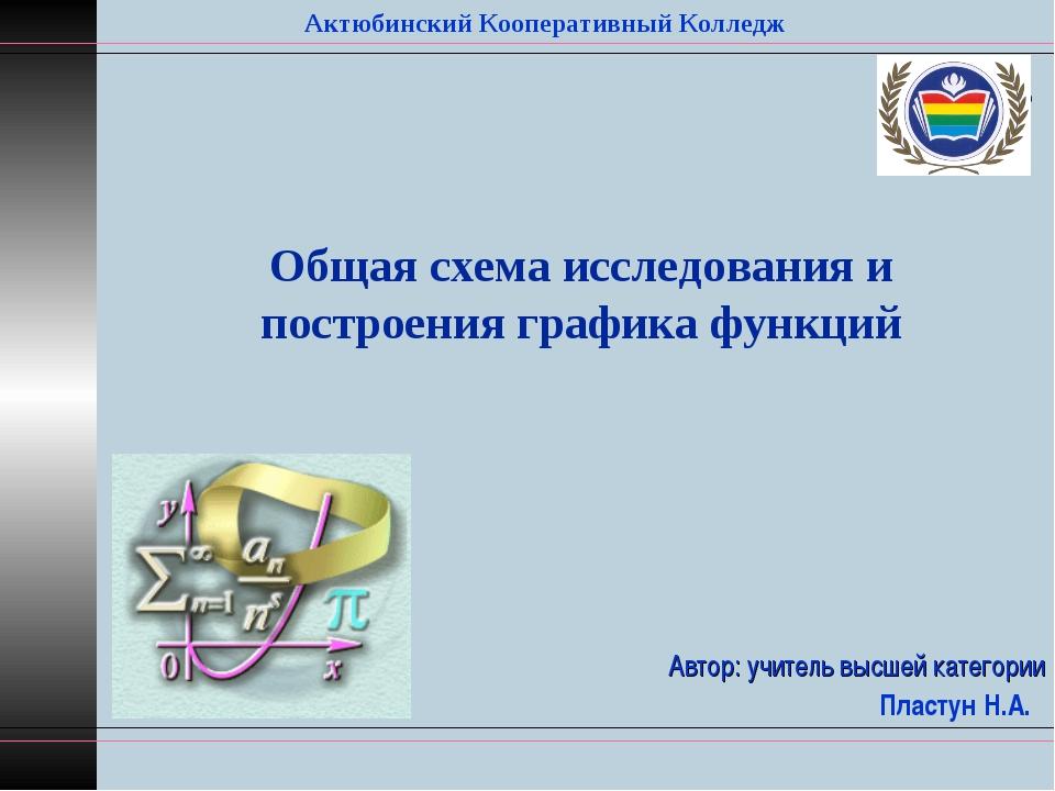 Автор: учитель высшей категории Пластун Н.А. Актюбинский Кооперативный Коллед...