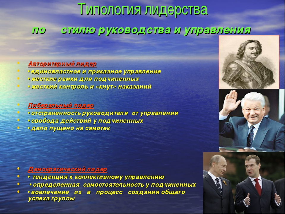 Типология лидерства по стилю руководства и управления Авторитарный лидер • ед...