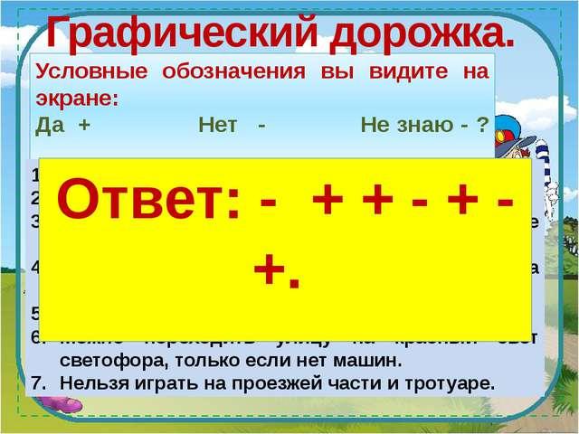 Условные обозначения вы видите на экране: Да + Нет -...