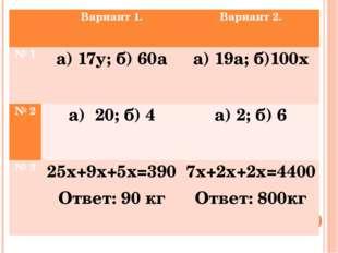 Вариант 1. Вариант 2. № 1 а) 17у; б)60а а) 19а;б)100х № 2 а) 20; б)4 а) 2;