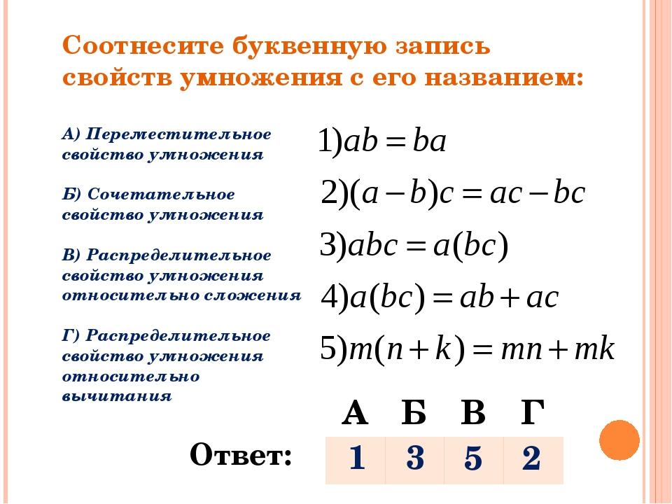 Соотнесите буквенную запись свойств умножения с его названием: А) Переместите...
