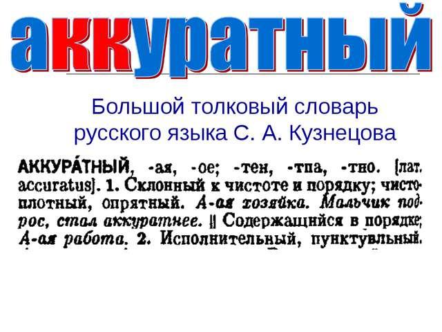 Большой толковый словарь русского языка С. А. Кузнецова