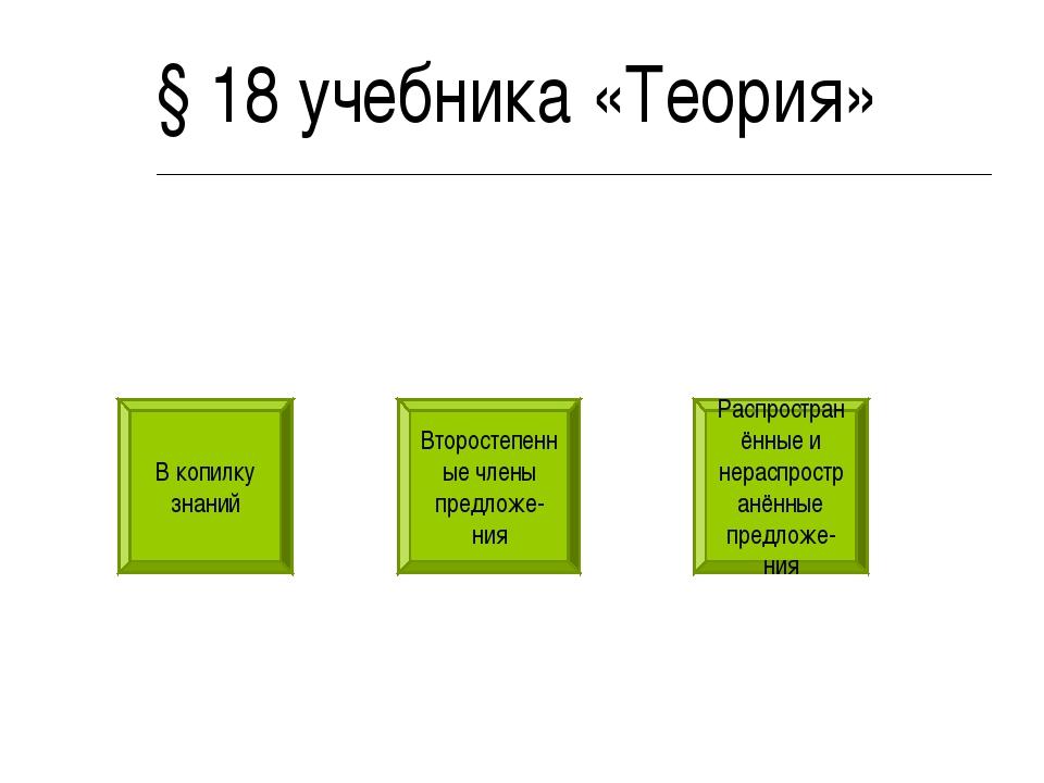 Второстепенные члены предложе-ния § 18 учебника «Теория» В копилку знаний Рас...