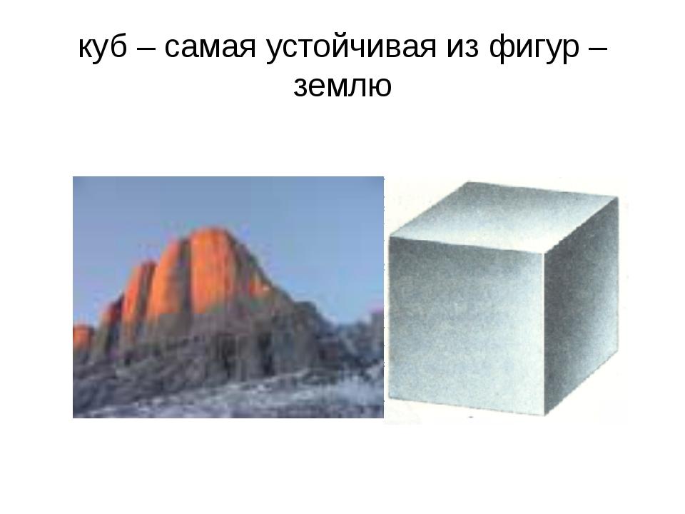 куб – самая устойчивая из фигур – землю