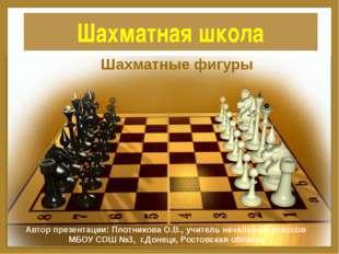 Шахматная школа Шахматные фигуры Автор презентации: Плотникова О.В., учитель