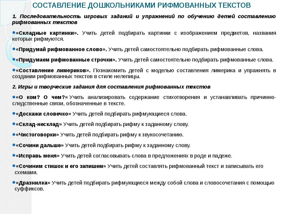 СОСТАВЛЕНИЕ ДОШКОЛЬНИКАМИ РИФМОВАННЫХ ТЕКСТОВ 1. Последовательность игровых з...