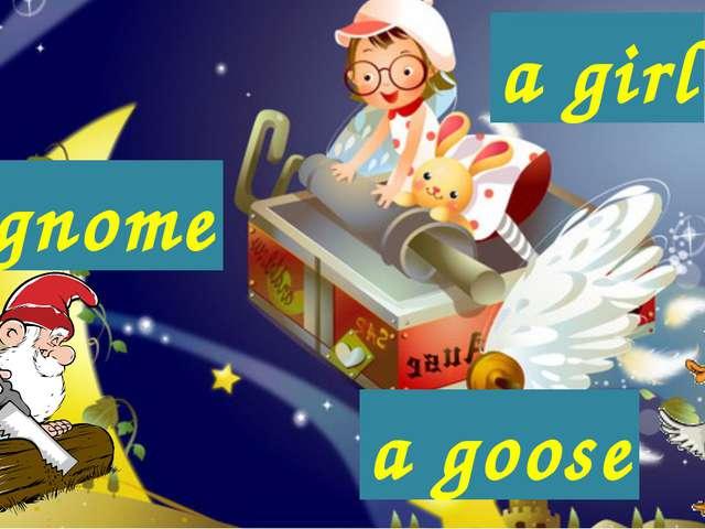 a girl a goose a gnome