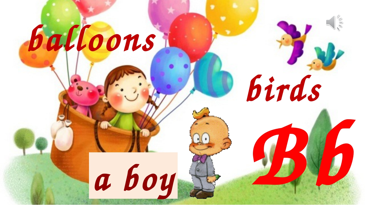 Bb balloons birds a boy