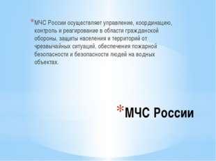 МЧС России МЧС России осуществляет управление, координацию, контроль и реагир
