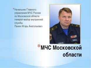 МЧС Московской области Начальник Главного управления МЧС России по Московской