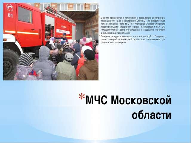 МЧС Московской области В целях пропаганды и подготовки к проведению мероприят...